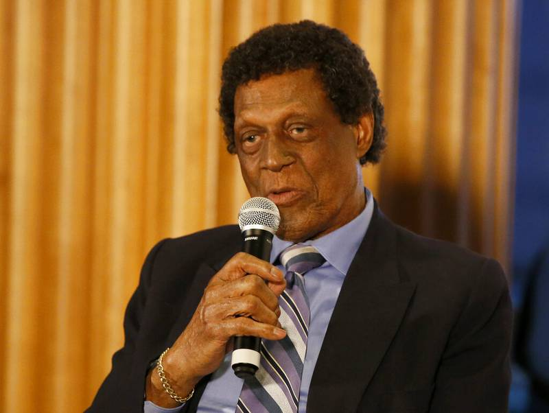 FILE PHOTO: NBA Hall of Fame and former player, Elgin Baylor speaks at an event before an NBA basketball game between the Los Angeles Clippers and the Dallas Mavericks in Los Angeles, Monday, Feb. 25, 2019. The Lakers announced the Hall of Famer died March 22 at the age of 86.
